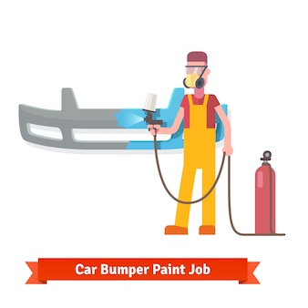 Specialist spray paint auto bumper