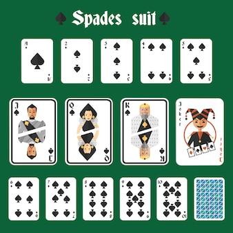 Speelkaarten spadespakket set joker en terug geïsoleerde vectorillustratie