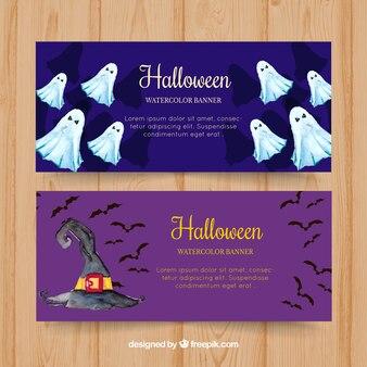 Spook banners en aquarel heks hoed