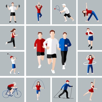 Sport en vrije tijd mensen activiteiten iconen set geïsoleerde vector illustratie