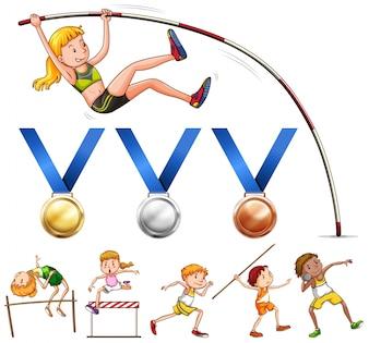 Sport medailles en verschillende soorten sportveld illustratie