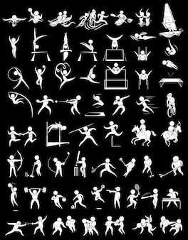 Sport pictogrammen voor vele sporten illustratie