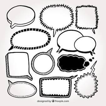 Spraakbellen schetsen verpakken