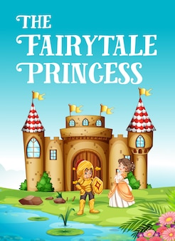 Sprookje prinses en ridder illustratie