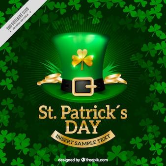 St Patrick's Day achtergrond met realistische hoed en klavers