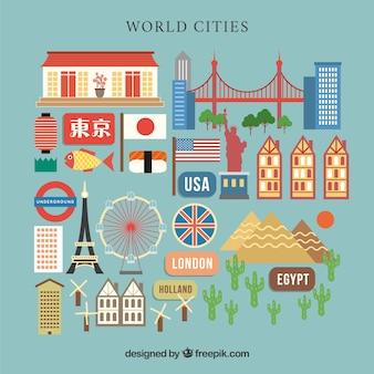 Stad wereld elementen