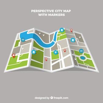 Stads kaart in perspectief met markers