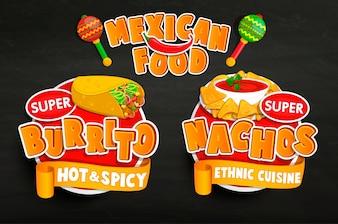 Stel de traditionele Mexicaanse voedselemblemen, stickers.