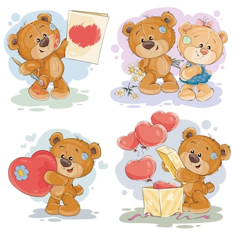 Stel vector clip art illustraties van teddyberen