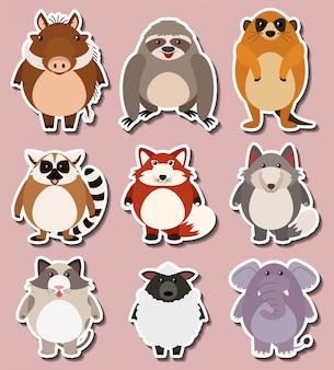 Sticker ontwerp voor wilde dieren