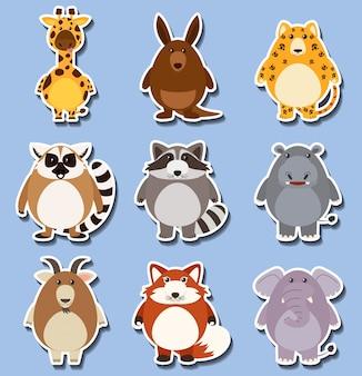 Sticker set met veel dieren op blauw