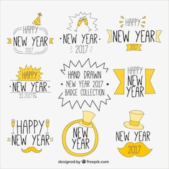 Stickers set van de hand getekende nieuwe jaar