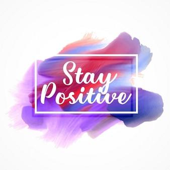 Stijlvolle aquarel verf effect met verblijf positieve boodschap