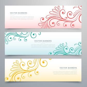 Stijlvolle floral banners set van drie