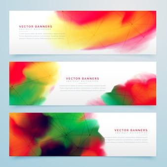 Stijlvolle kleurrijke aquarel banners set ontwerp