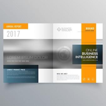 Stijlvolle minimale geel en blauw thema tijdschrift brochure template