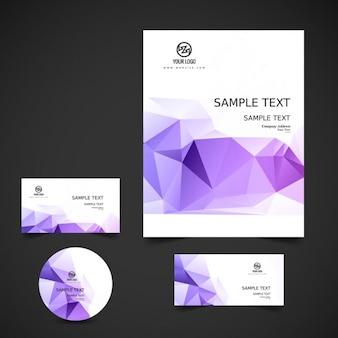 Stijlvolle zakelijke briefpapier in kleur paars