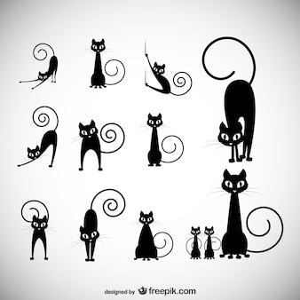 Stock Vector Illustratie: zwarte kat silhouet collecties