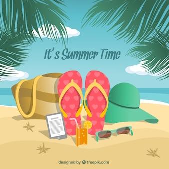 Strand achtergrond met de zomer accessoires