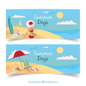 Strand banners met vrouw en zomer elementen