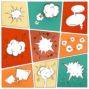 Strip blanco tekst speech bubbles in pop art style set vector illustratie