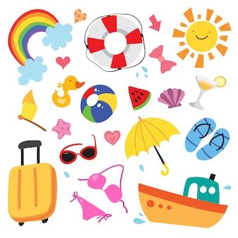 Summer elementen illustratie collectie
