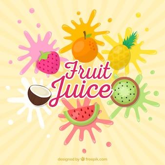 Sunburst achtergrond met verschillende vruchten