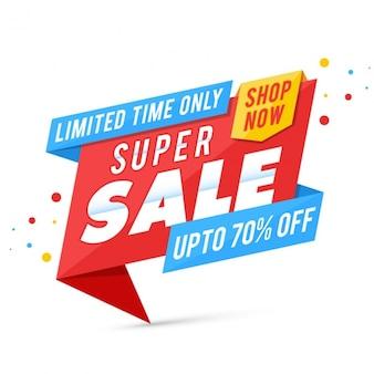 Super verkoop banner in origami stijl