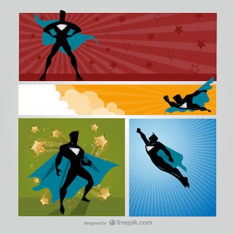 Superhero cartoon banners
