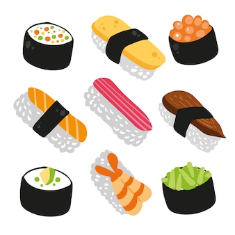Sushi iconen collectie