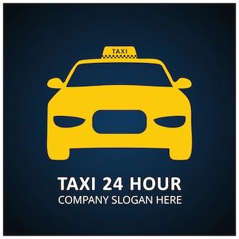 Taxi Icon Taxi Service 24 Uur Serrvice Taxi Auto Blauwe En Zwarte Achtergrond