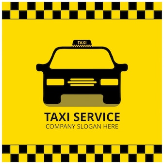 Taxi Pictogram Taxi Service Zwarte Taxi Auto Gele Achtergrond