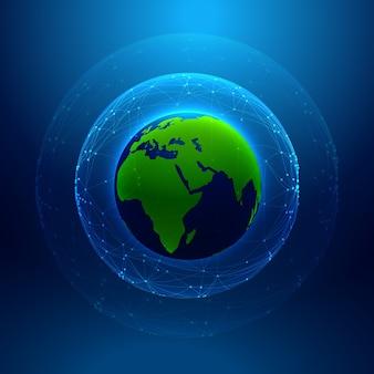 Technologie stijl achtergrond met aarde en netwerk lijnen