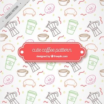 Tekeningen van coffeeshop elementen patroon