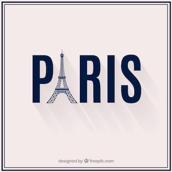 Tekst van Parijs met de toren van Eiffel