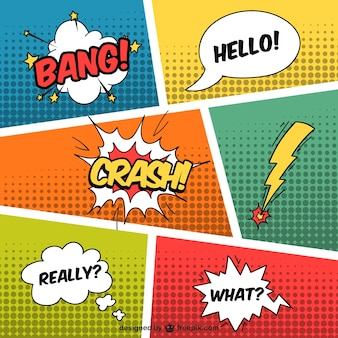 Tekstballonnen in komische stijl