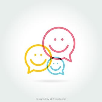 Tekstballonnen met smiley gezichten