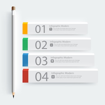 Template Infographic Pencil and Eraser