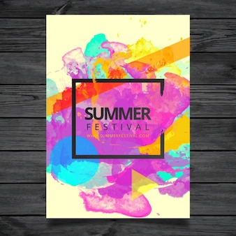 Template Poster Watercolor Summer Festival