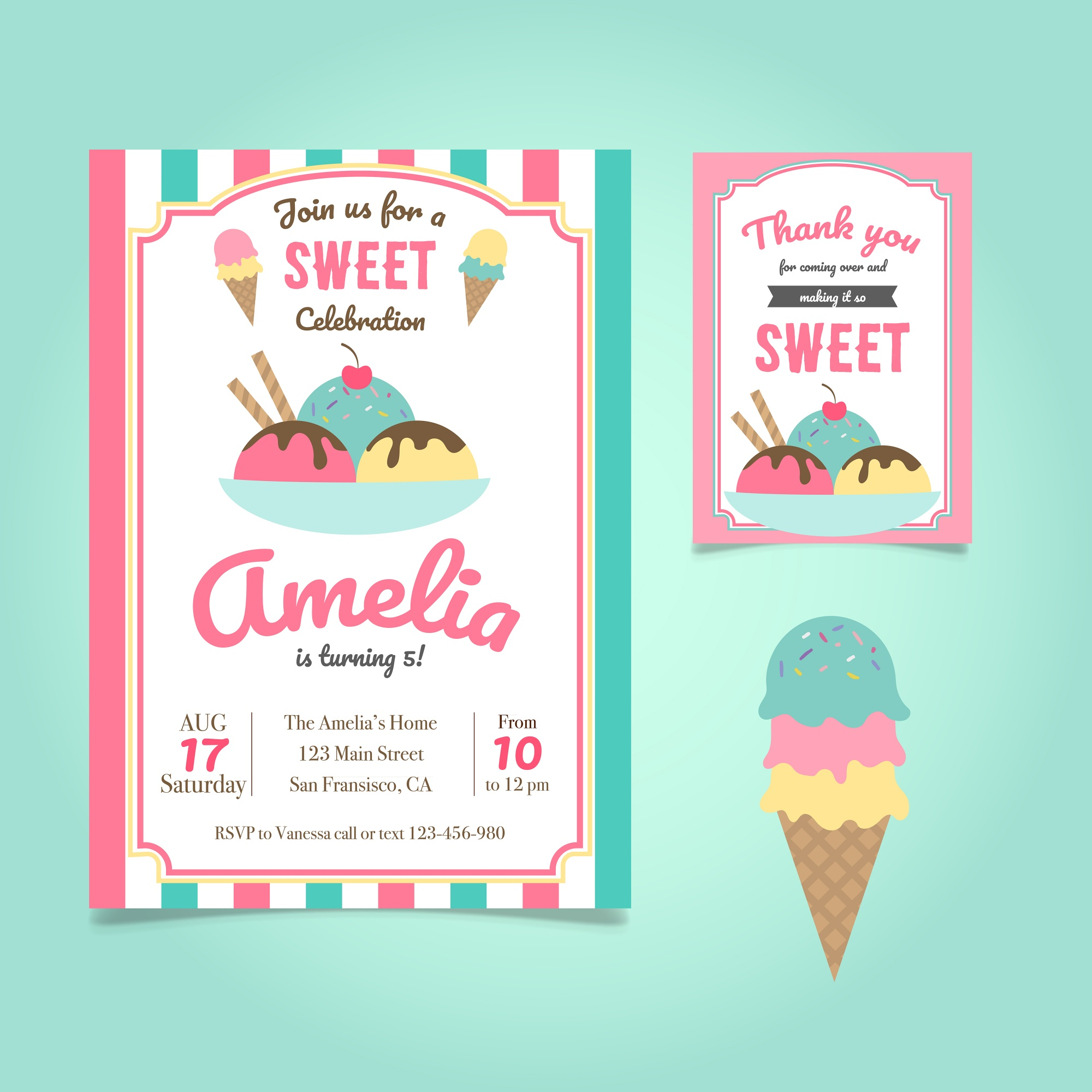 Template Uitnodiging Ice Cream Birthday Party