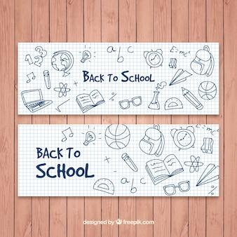 Terug naar school banners met tekeningen