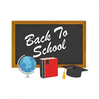 Terug naar school ontwerp met school supplies pictogrammen Gedetailleerde vector illustratie