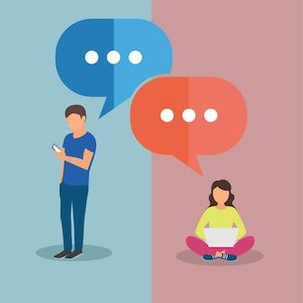 Texting verbindingen. Man en vrouw chatten. Vector illustratie in platte ontwerp met spraakbellen