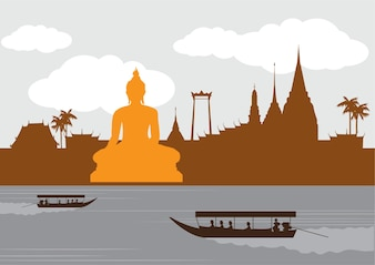Thailand landmark en reisplaats, tempel, achtergrond.