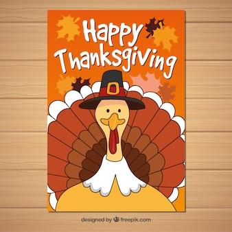 Thanksgiving poster met grappige kalkoen
