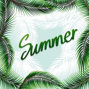 Thema van de zomer achtergrond met groene bladeren illustratie