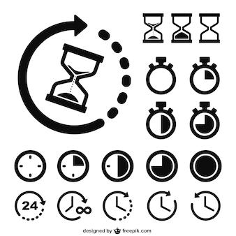 Tijd en klokken pictogrammen