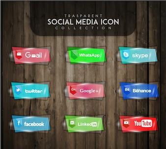Transparante sociale media icon collectie