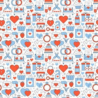 Trouw- en huwelijkspictogrammen vierkant naadloos patroon