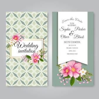 Trouwkaart met mooie bloemen